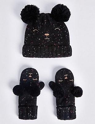 Kids' Wool Rich Double Pom Hat & Mitten Set, Black Mix, catlanding