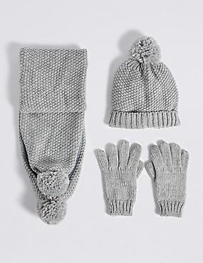 Set aus Mütze, Schal und Handschuhen für Kinder , MEHRFARBIG, catlanding