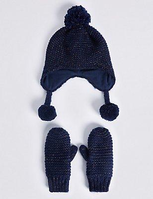 Ensemble bonnets et moufles enfants, BLEU MARINE ASSORTI, catlanding
