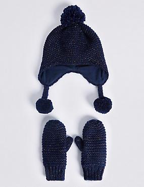 Kids' Hat & Mittens Set, NAVY MIX, catlanding