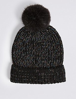 Kids' Pom-pom Hat, BLACK MIX, catlanding