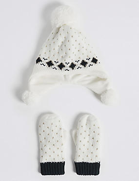 Kids' Trapper Hat & Mittens Set, CREAM MIX, catlanding