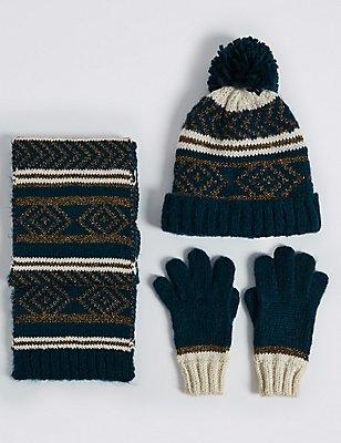 Ensemble bonnet, écharpe et gants pour enfants à motif jacquard, BLEU MARINE ASSORTI, catlanding