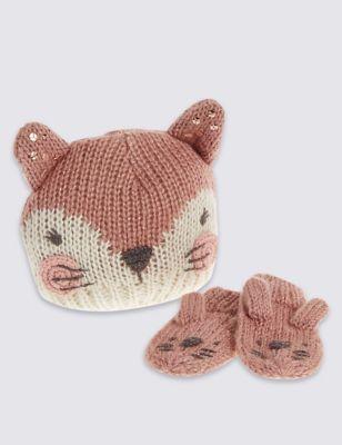 Вязаный комплект Bunny для девочки 3 мес-6 лет: шапка и варежки T925412W