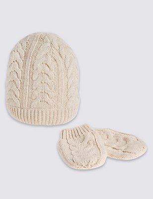 Kids' Oatmeal Cable Hats & Gloves Sets, OATMEAL, catlanding