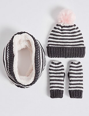 Kids' Hat, Snood & Mittens Set, GREY MIX, catlanding