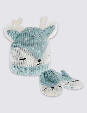 Kids' Reindeer Hat & Mittens Set, AQUA MIX, catlanding