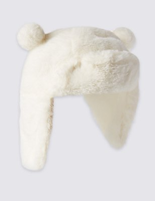 Kids' Faux Fur Trapper Hat  , CREAM, catlanding