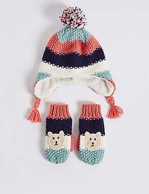 Kids' Hat & Mittens Set, MULTI, catlanding