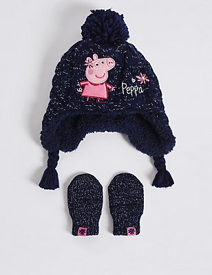 Kids' Peppa Pig™ Hat & Mittens Set, NAVY MIX, catlanding
