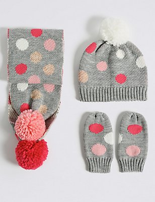 Kids' Spotted Hat, Scarf & Mittens Set, MULTI, catlanding