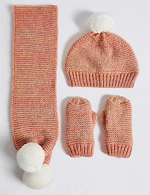 Ensemble bonnet à pompon, écharpe et moufles pour enfants, ROSE ASSORTI, catlanding