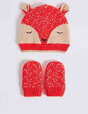 Baby Hat & Mittens Set, ORANGE MIX, catlanding