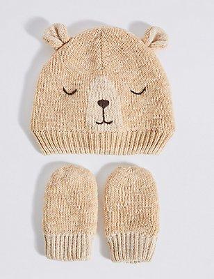Kids' Bear Hat & Mittens Set, CREAM MIX, catlanding