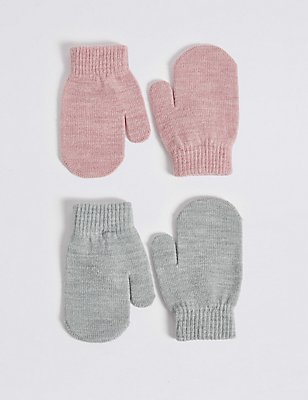 Lot de 2paires de moufles enfants, ROSE ASSORTI, catlanding