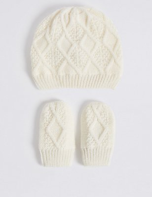 Baby Cable Hat & Mittens Set, CREAM, catlanding