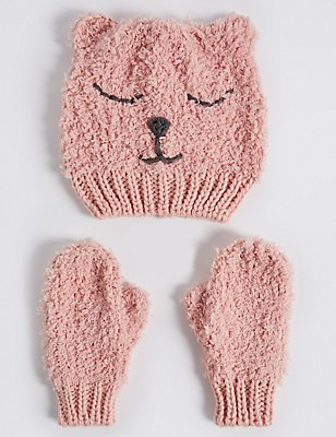 Kids' Hat & Mittens Set, PINK MIX, catlanding