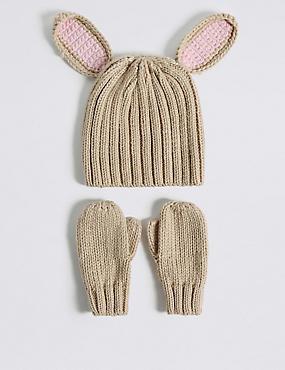 Kids' Bunny Hat & Mittens Set, CREAM MIX, catlanding