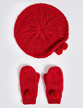 Kids' Beret Hat & Mittens, RED, catlanding