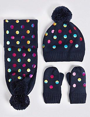 Kids' Foil Spot Print Hat, Scarf & Mittens Set, MULTI, catlanding