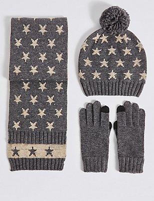 Kids' Hat, Scarf & Gloves Set , GREY MIX, catlanding