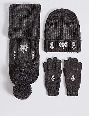 Kids' Hat, Scarf & Gloves Set, GREY MIX, catlanding