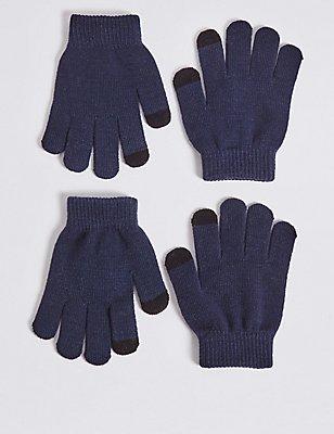 2er-Pack Handschuhe für Kinder, MARINEBLAU MELANGE, catlanding