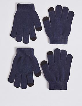 Kids' 2 Pack Gloves, NAVY MIX, catlanding