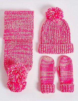 Kids' Hat, Scarf & Gloves Set , PINK MIX, catlanding