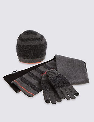 Kids' Hat, Scarf & Gloves Set with Wool, GREY MIX, catlanding