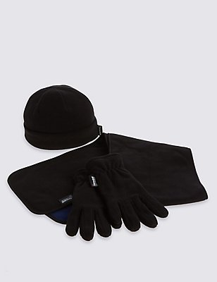 Kids' Hat, Scarf & Fleece Gloves Set with Thinsulate™, BLACK MIX, catlanding