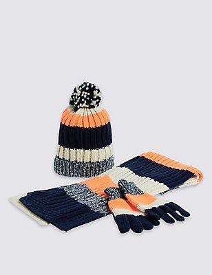 Kids' Hat, Scarf & Gloves Set , OATMEAL MIX, catlanding