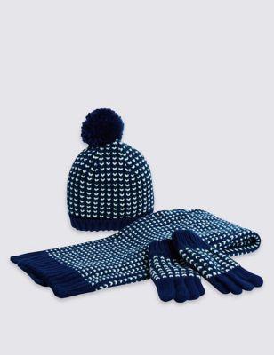 Комплект с комбинированной вязкой для мальчика: шарф, шапка и перчатки