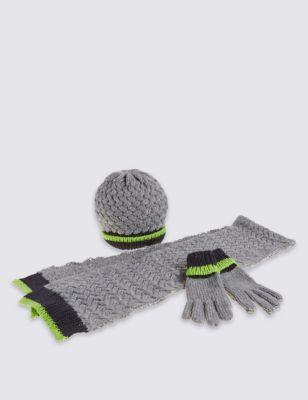 Комплект с цветной полоской для мальчика: шарф, шапка и перчатки