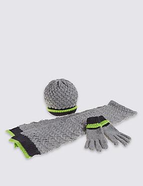 Kids' Easy Hats, Scarf & Gloves Sets, NAVY, catlanding