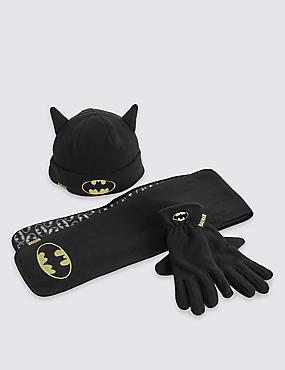Kids' Batman™ Hat, Scarf & Fleece Gloves Set, BLACK, catlanding