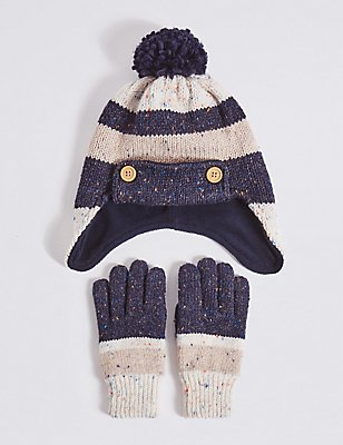 Kids' Hat & Gloves Set, NAVY MIX, catlanding