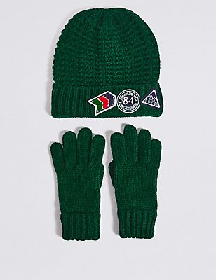 Kids' Hat & Gloves Set, NAVY MIX, catlanding