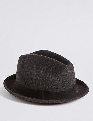 Kid's Pure Wool Trilby Hat , GREY MIX, catlanding