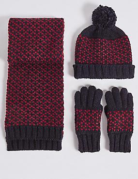 Ensemble bonnet, écharpe et gants enfants, BLEU MARINE ASSORTI, catlanding