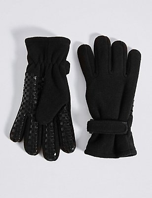 Kids' Fleece Gloves, BLACK, catlanding