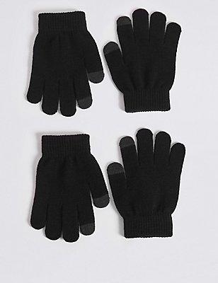 Kids' 2 Pack Gloves, BLACK, catlanding