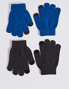 Kids' 2 Pack Gloves, BLUE MIX, catlanding