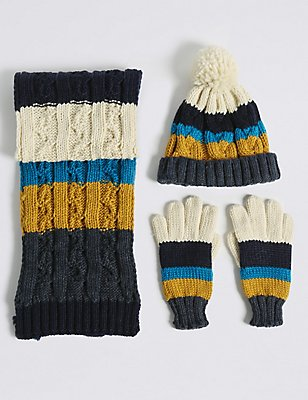 Kids' Striped Hat, Scarf & Gloves Set, GREY MIX, catlanding