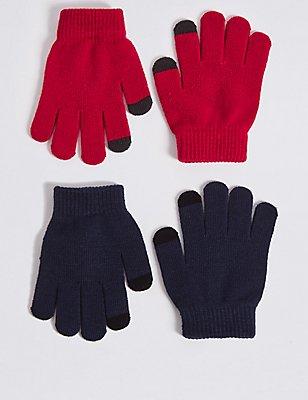 Lot de 2paires de gants enfants, ROUGE ASSORTI, catlanding