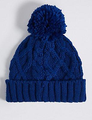 Kids' Cable Knit Pom-pom Hat, BLUE, catlanding