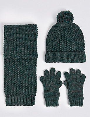 Kids' Hat, Scarf & Gloves Set, GREEN MIX, catlanding