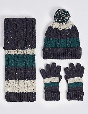 Kids' Striped Cable Knit Hat, Scarf & Gloves Set, GREY MIX, catlanding