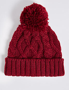 Kids' Pom-pom Cable Knit Hat, BURGUNDY, catlanding