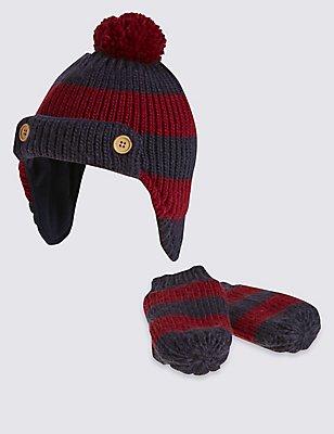 Kids' Striped Trapper Hat & Mittens, NAVY MIX, catlanding